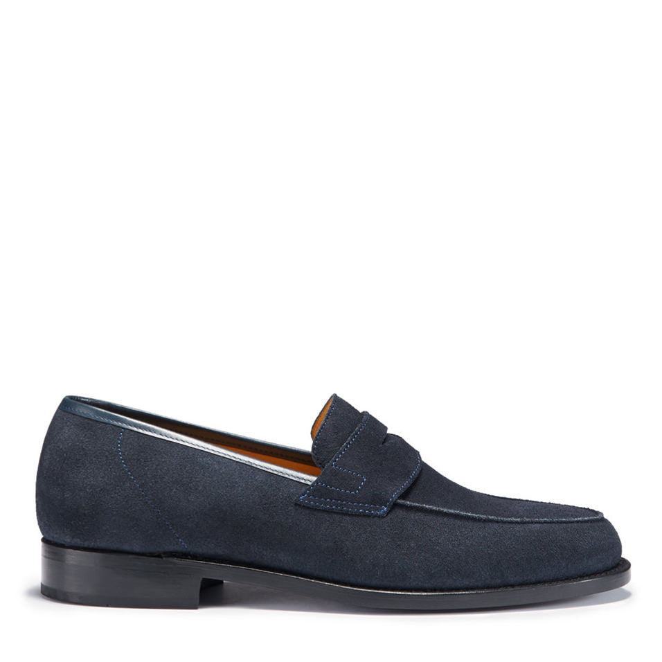 Navy Blue Suede Loafers, Welted Leather Sole