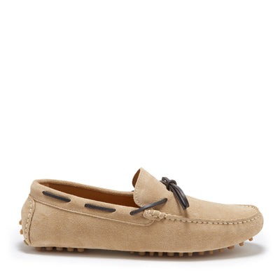 Laced Driving Loafers, taupe suede