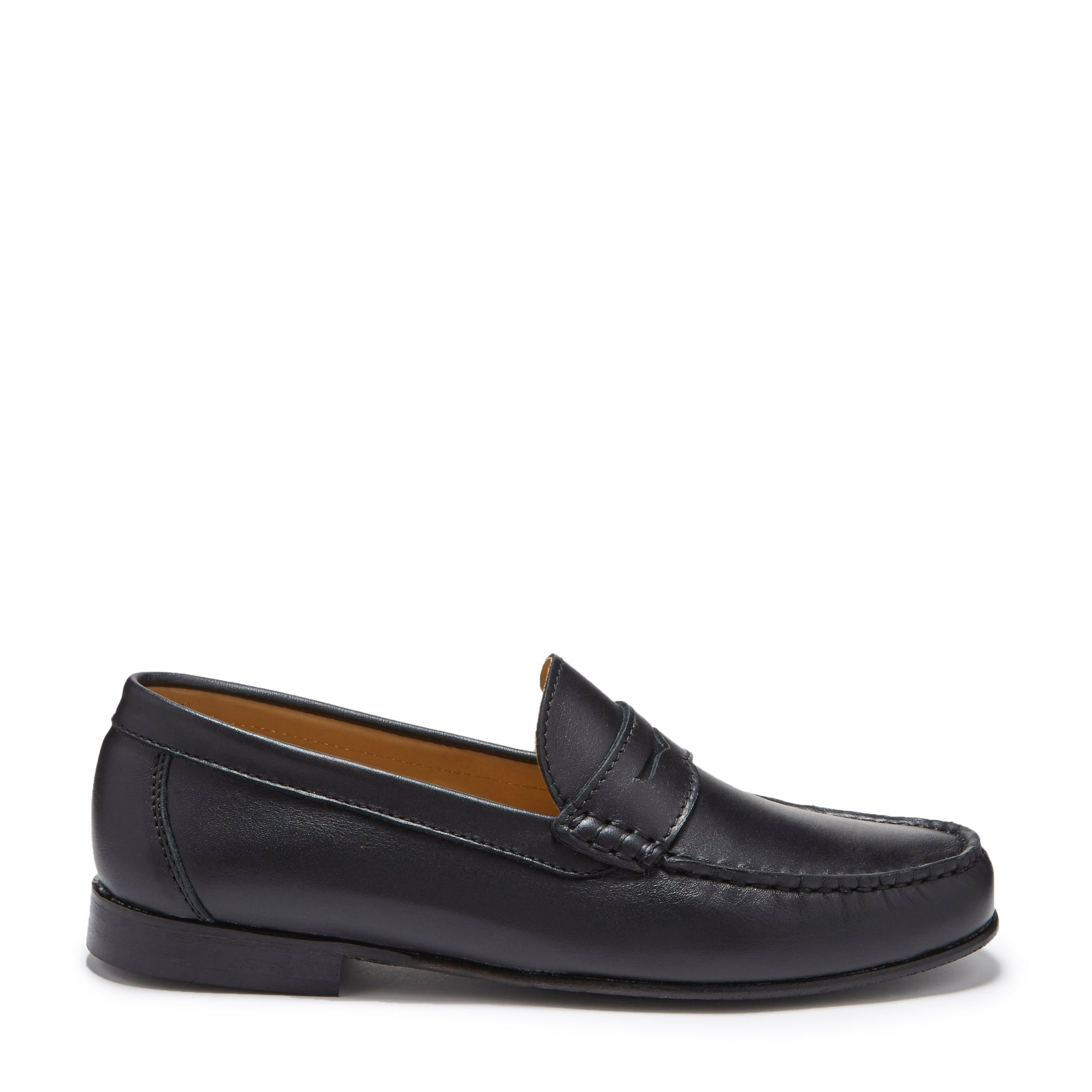 Black Leather, Penny Loafers, Leather Sole Side