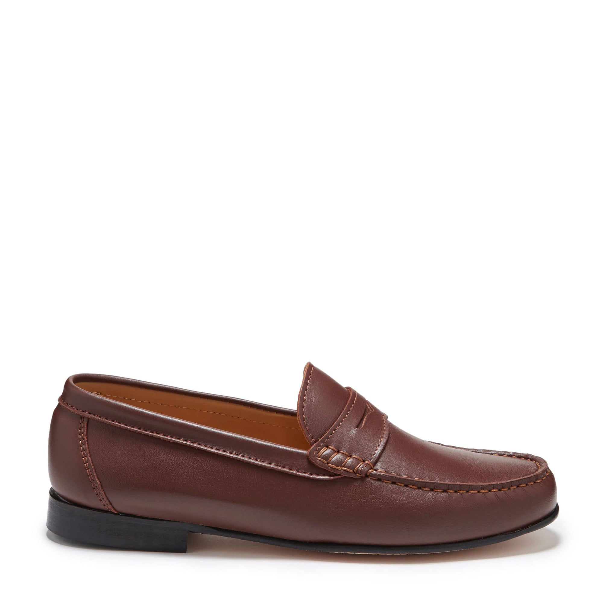 Brown Leather Loafers, Leather Sole Side
