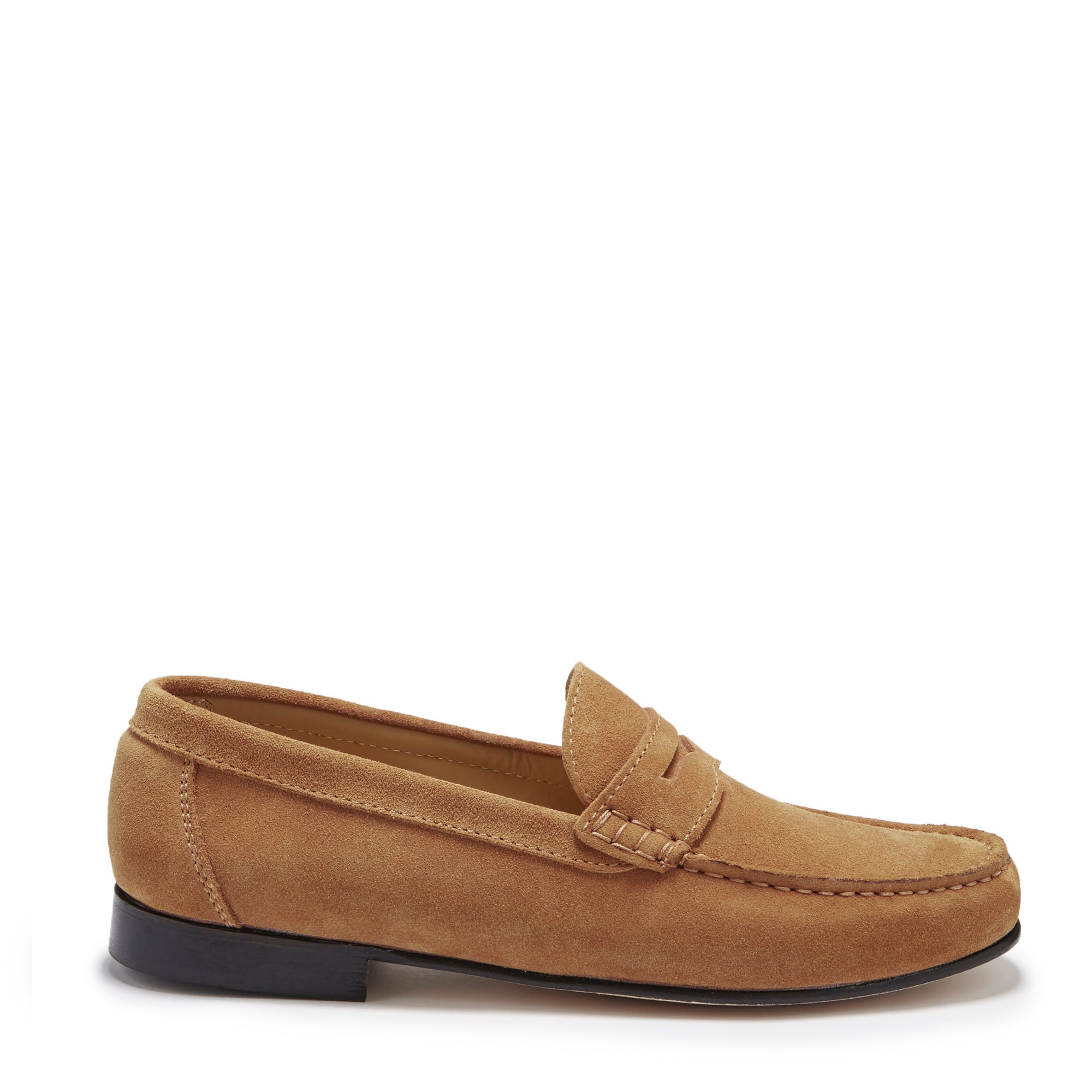 Tobacco Suede, Penny Loafers, Leather Sole Side