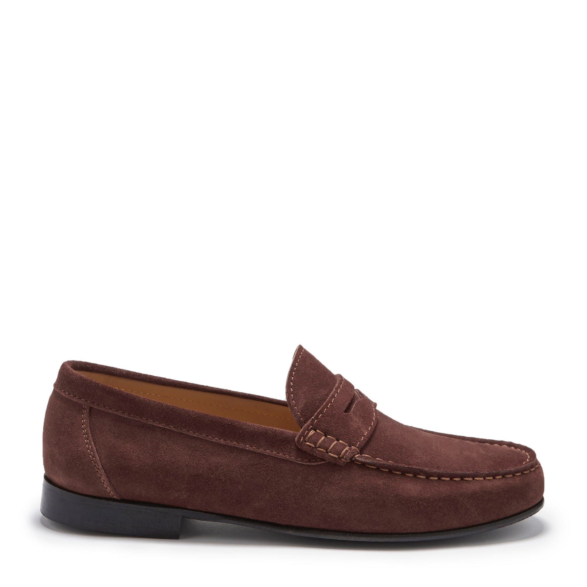 Mahogany Brown Suede, Penny Loafers, Leather Sole Side