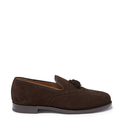 Brogue Loafers, Brown Suede, Goodyear Welted, Side