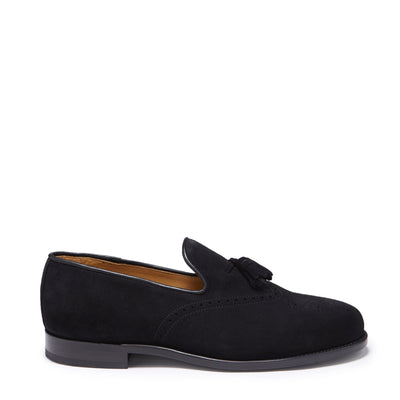 Black Suede Brogue Loafer