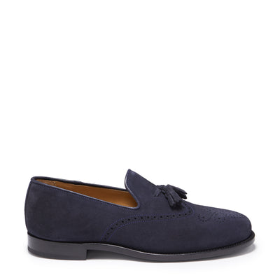 Navy Blue Suede Tasselled Brogues, Welted Leather Sole