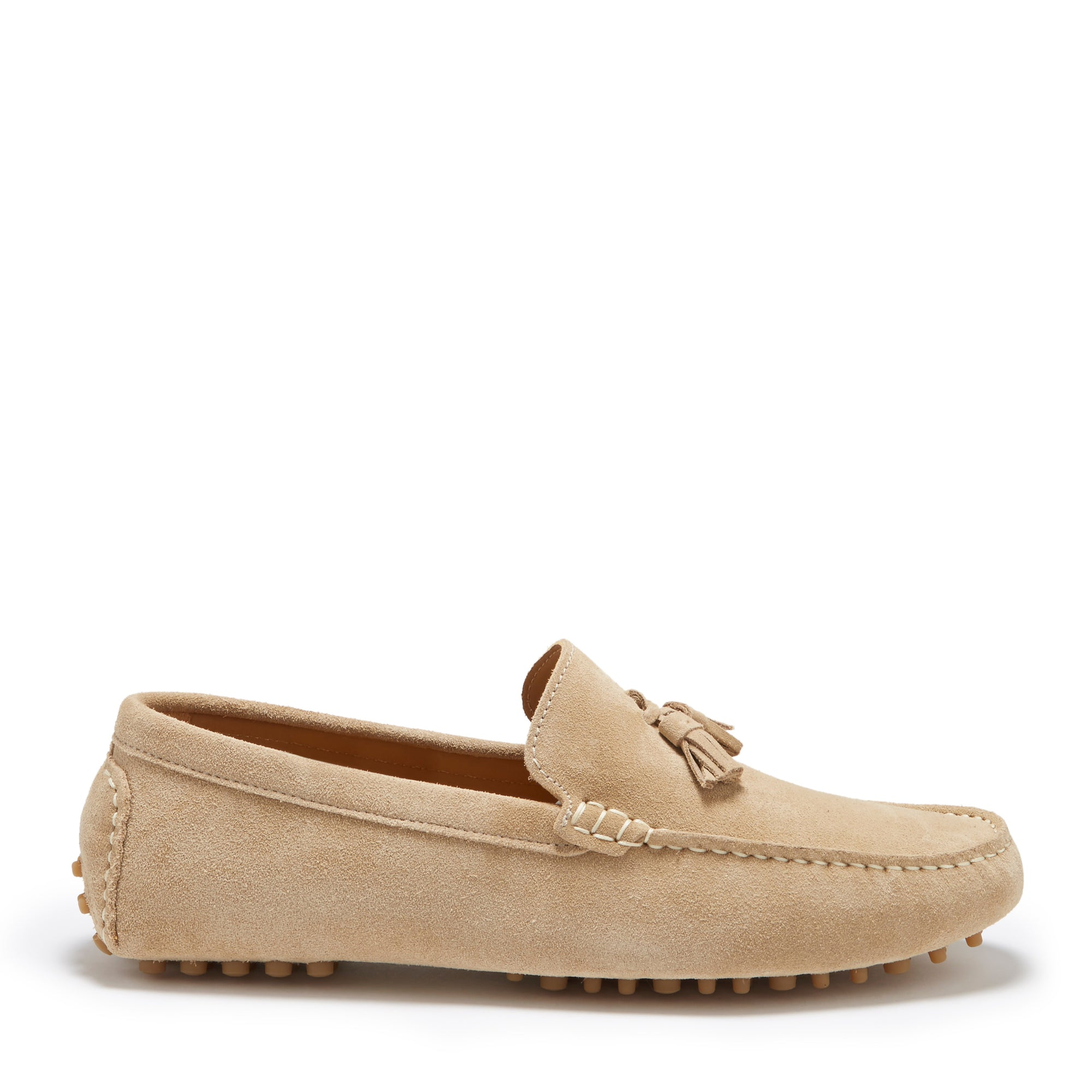 Tasselled Driving Loafer Taupe Suede Hugs & Co.