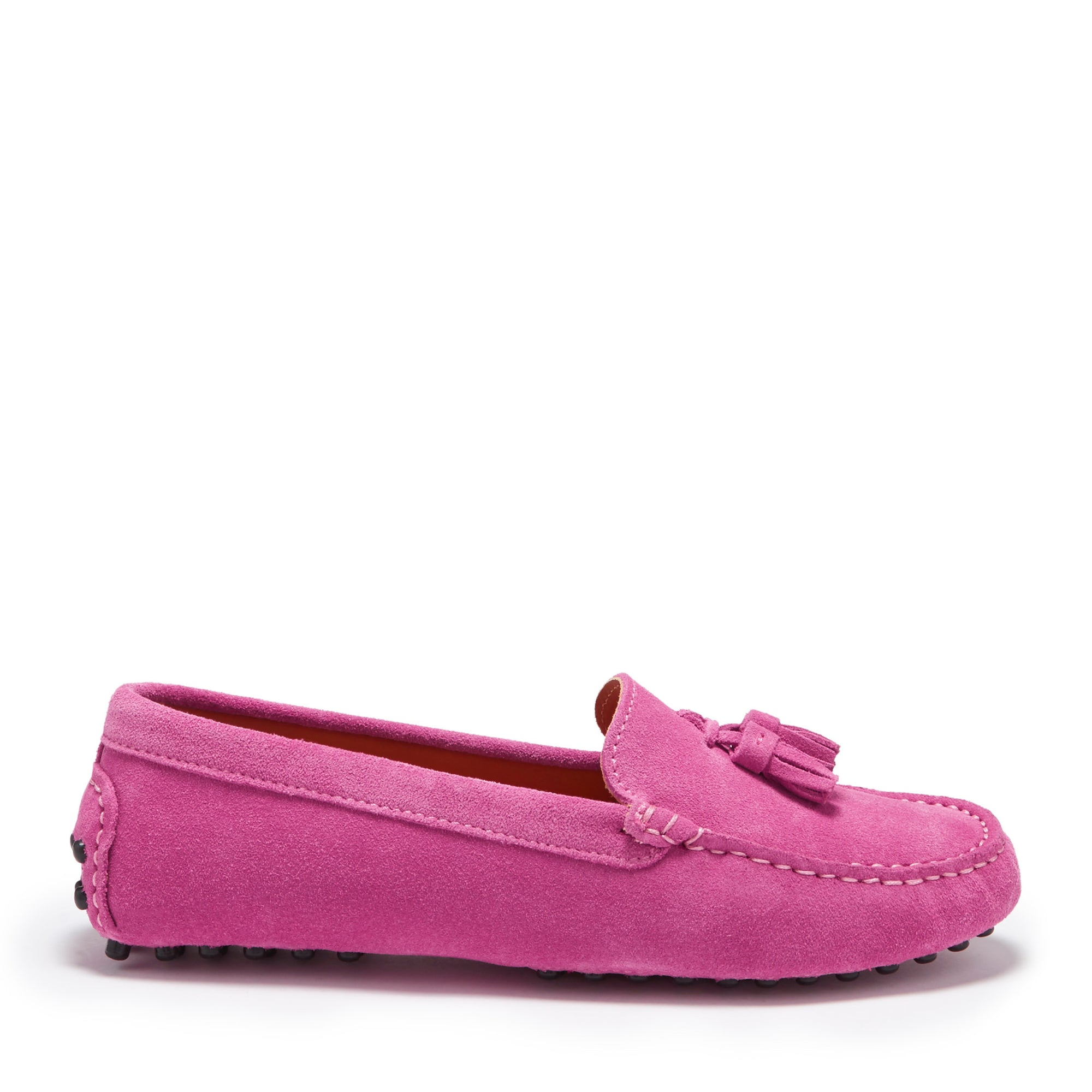 Women's Tasselled Driving Loafers, pink suede