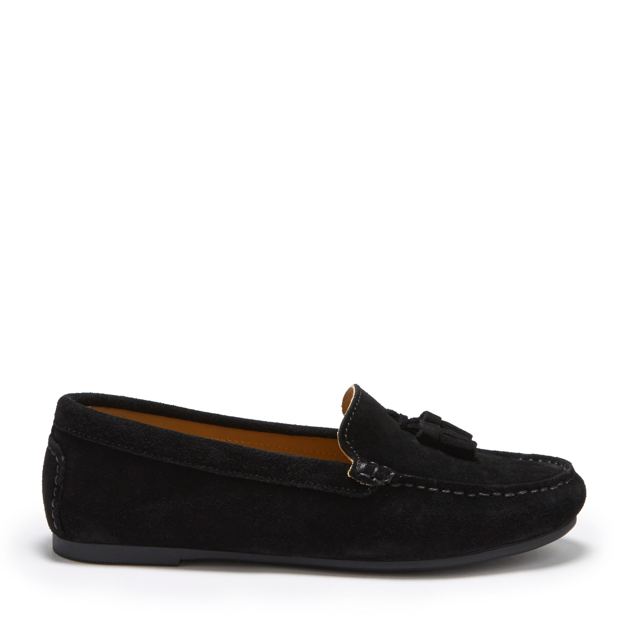 Women's Tasselled Driving Loafers Full Rubber Sole, black suede