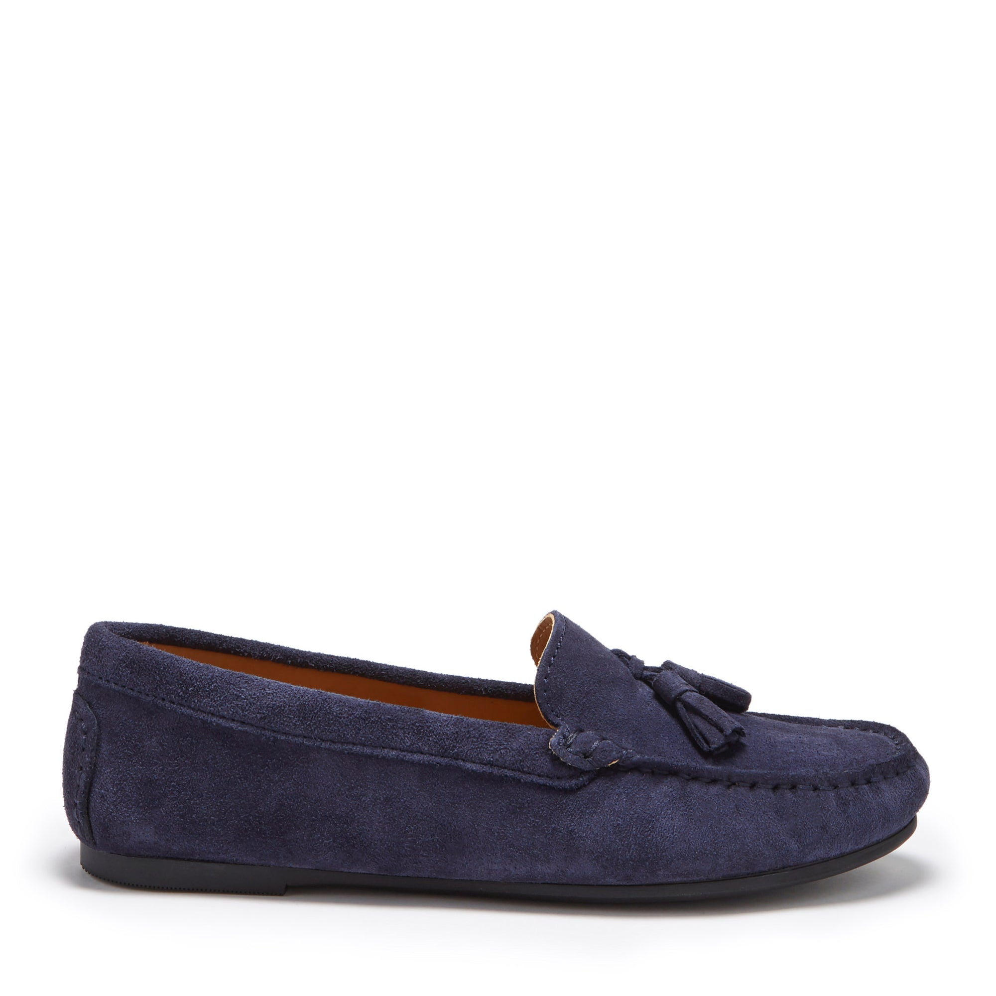 Women's Tasselled Driving Loafers Full Rubber Sole, navy blue suede