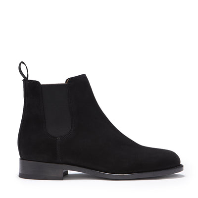 Women's Black Suede Chelsea Boots, Welted Leather Sole