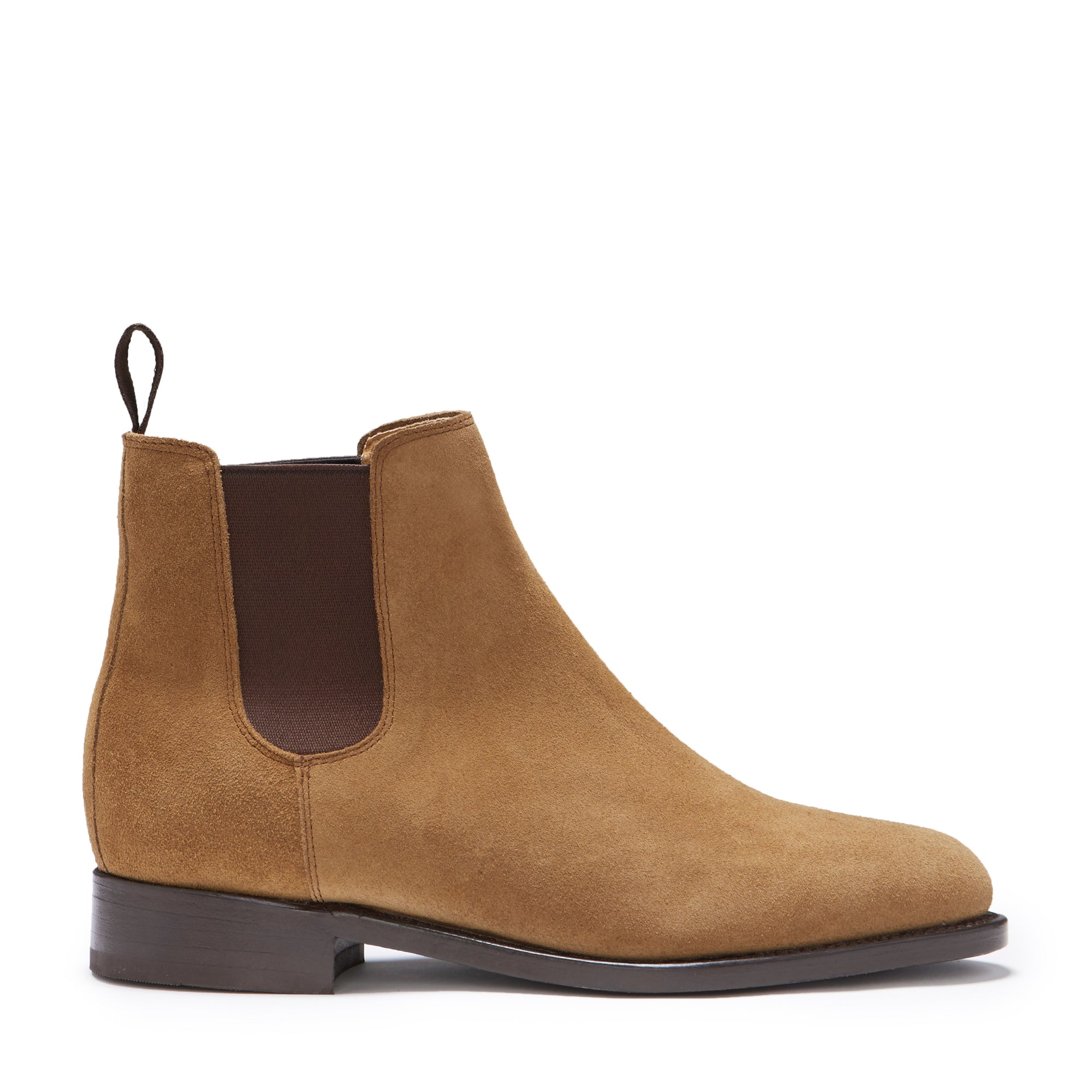 Women's Tobacco Suede Chelsea Boots, Welted Leather Sole