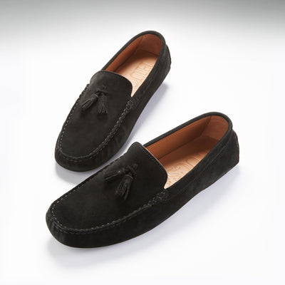 Tasselled Driving Loafers, black suede