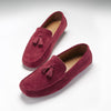 Tasselled Driving Loafers, burgundy suede