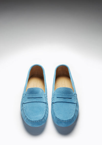 Women's Penny Driving Loafers, turquoise suede