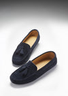 Women's Tasselled Driving Loafers, navy blue suede