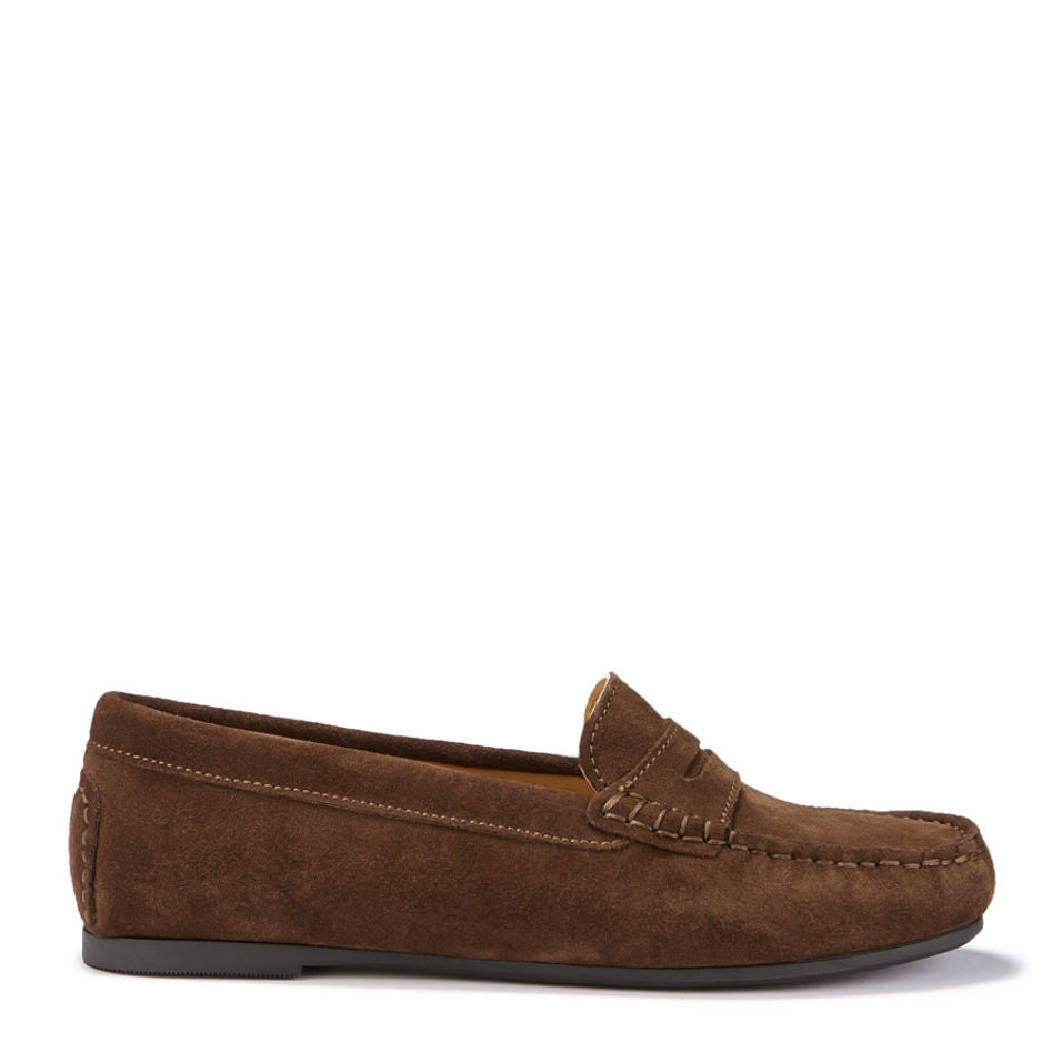 Womens Brown Suede Rubber Sole Driving Loafers Side