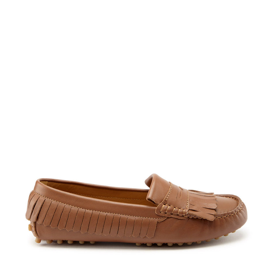 Women's Fringed Driving Loafers, light tan leather