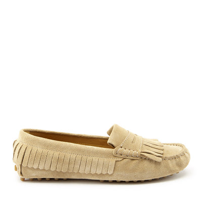 Women's Fringed Driving Loafers, taupe suede