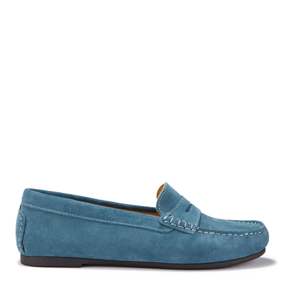Women's Penny Driving Loafers Full Rubber Sole, teal suede