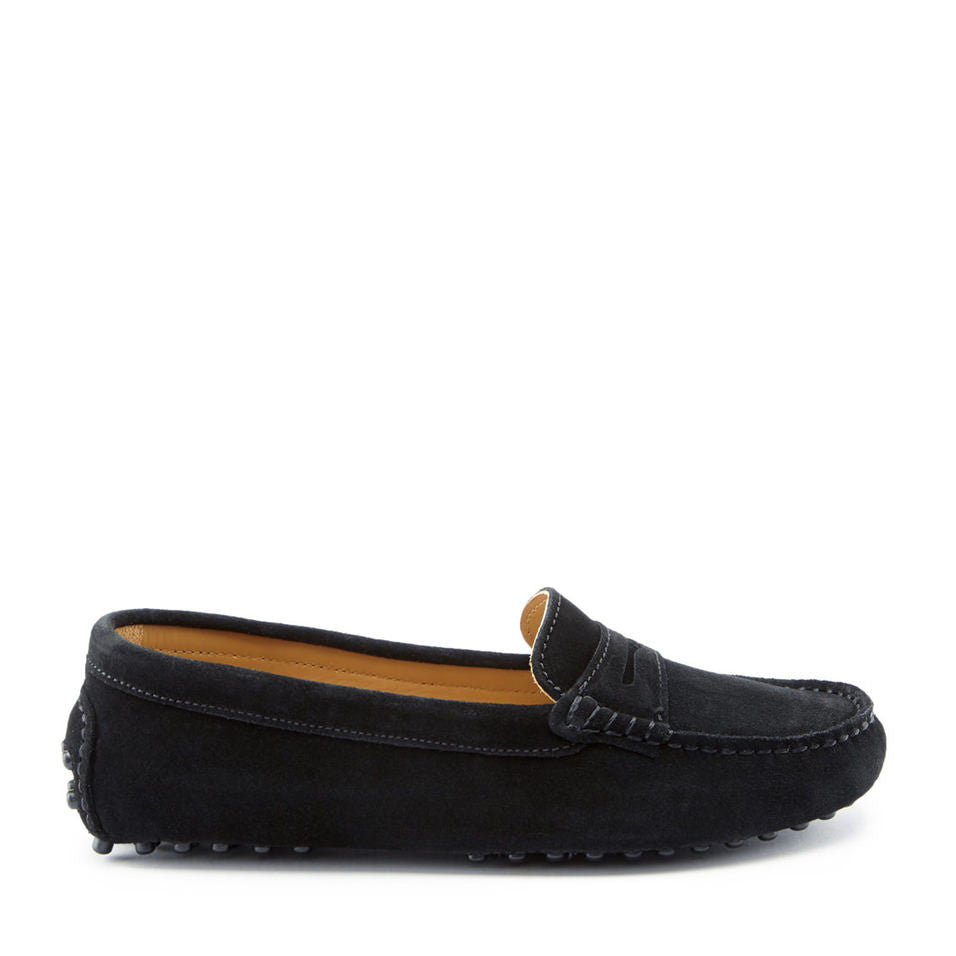 Women's Penny Driving Loafers, black suede