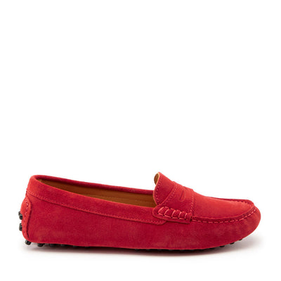 Women's Penny Driving Loafers, red suede