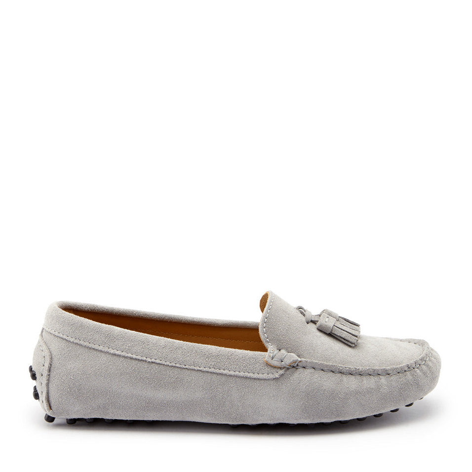 Women's Tasselled Driving Loafers, dove grey suede