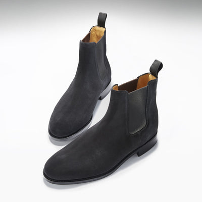 Black Suede Chelsea Boots Three Quarter