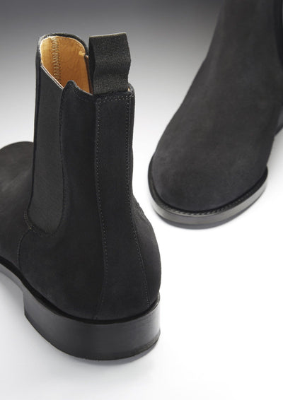 Black Suede Chelsea Boots Front and Back