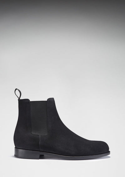 Black Suede Goodyear Welted Chelsea Boots Side On Shadow