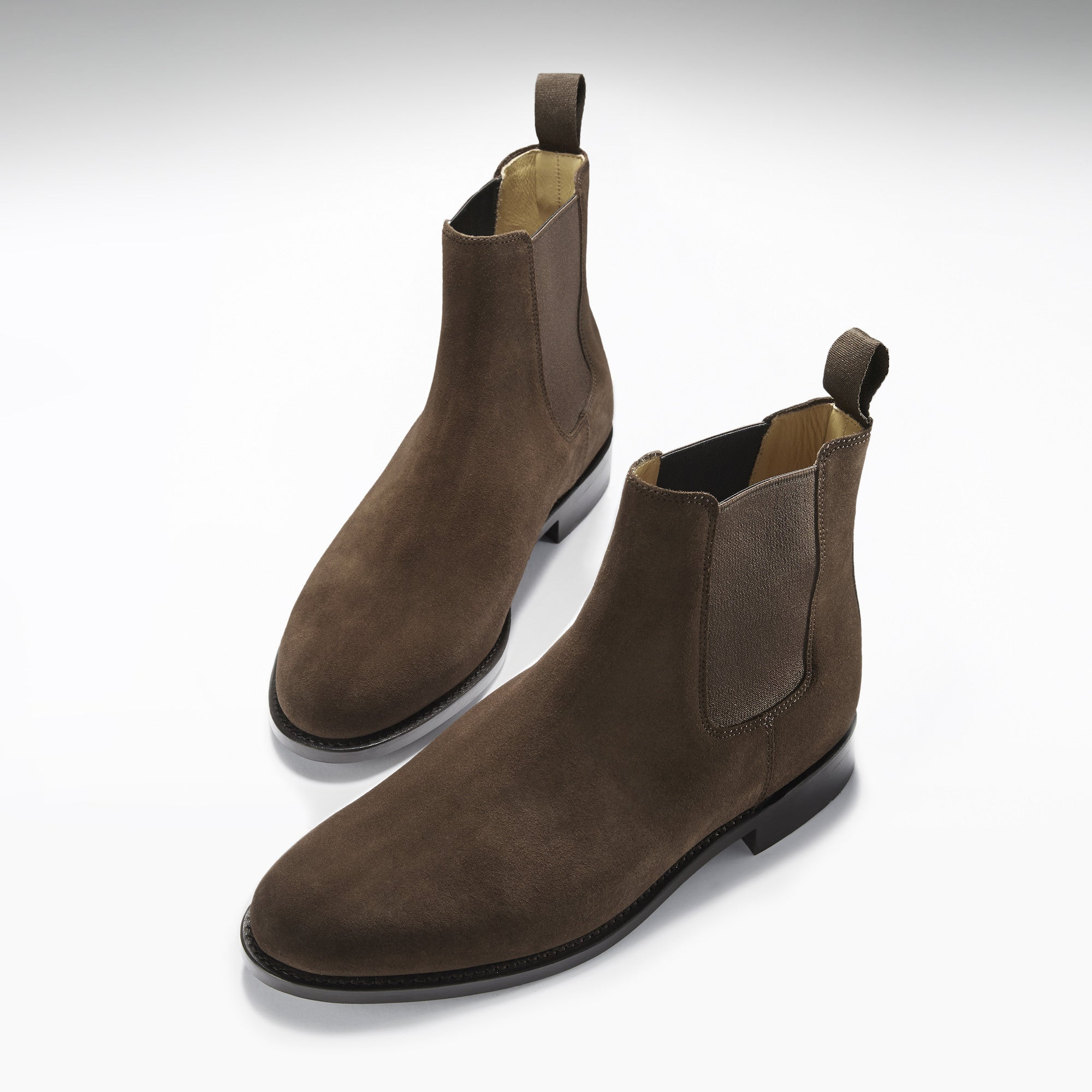brown suede chelsea boots welted leather sole hugs co