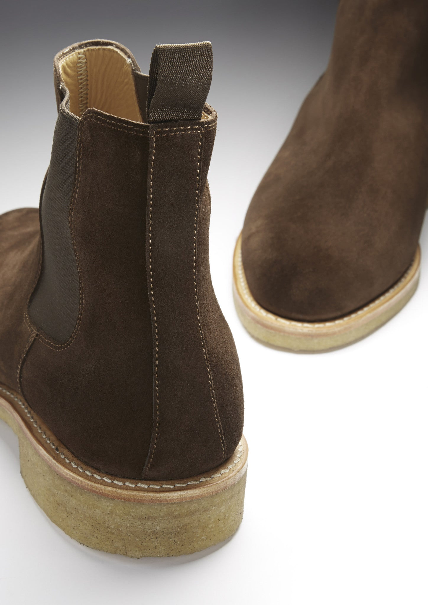 Brown Suede Chelsea Boots, Crepe Rubber