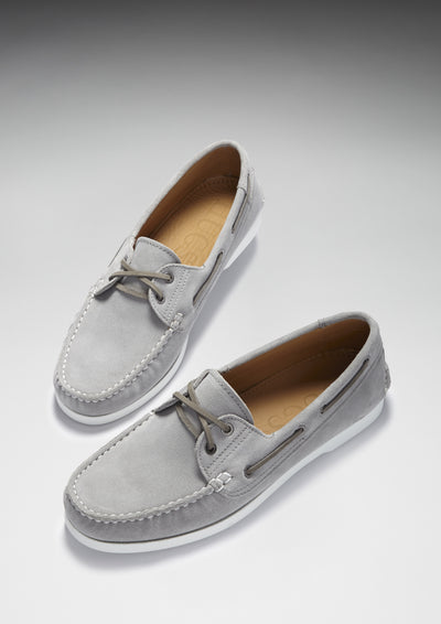 Deck Shoe Dove Grey Suede Three Quarter