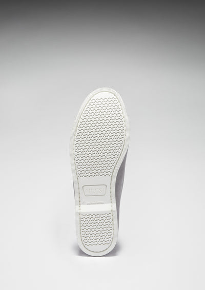 White Rubber Sole, Deck Shoe Dove Grey Suede