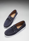 Deck Shoe Navy Blue Suede Three Quarter