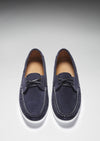 Deck Shoe Navy Blue Suede Front