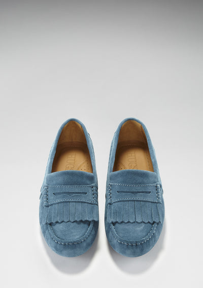 Women's Fringed Driving Loafers, petrol blue suede