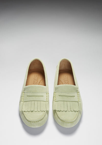 Women's Fringed Driving Loafers, pistachio suede