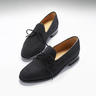 Laced Welted Loafers Black Suede Three Quarter