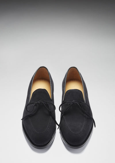 Laced Welted Loafers Black Suede Front On