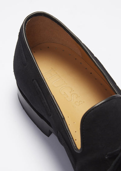 Laced Welted Loafers Black Suede Insole