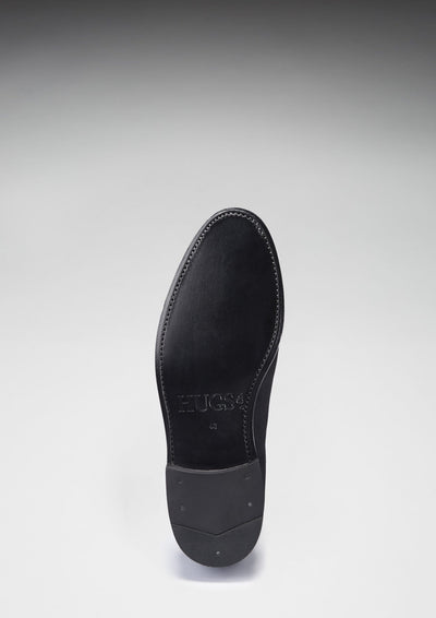 Leather Sole Black Suede Laced Loafers
