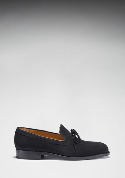 Laced Welted Loafers Black Suede Side On With Shadow
