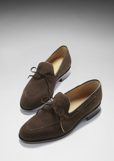 Laced Loafers, Brown Suede, Goodyear Welted