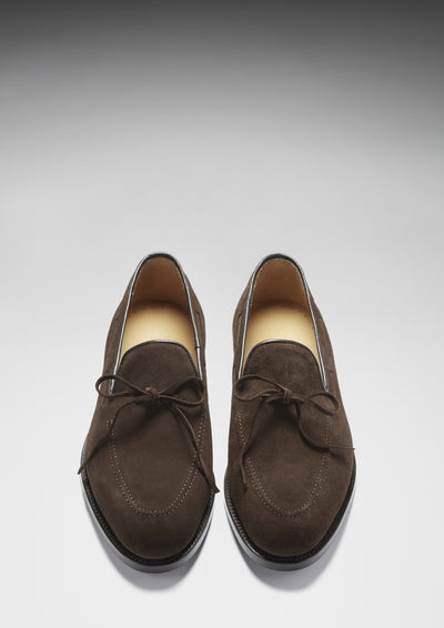 Laced Loafers, Brown Suede, Goodyear Welted, Front