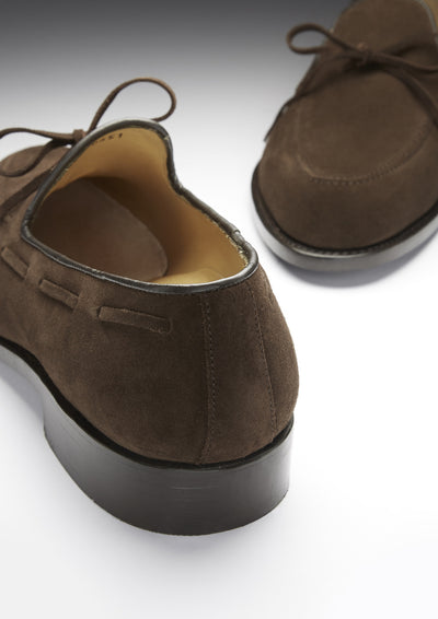 Laced Loafers, Brown Suede, Goodyear Welted, Front and Back