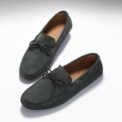 Laced Driving Loafers, racing green suede