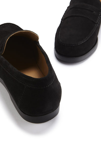 Boat Loafers, black suede