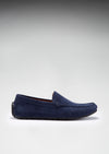 Tyre Sole Driving Loafers, navy blue suede