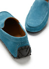 Tyre Sole Driving Loafers, petrol blue suede