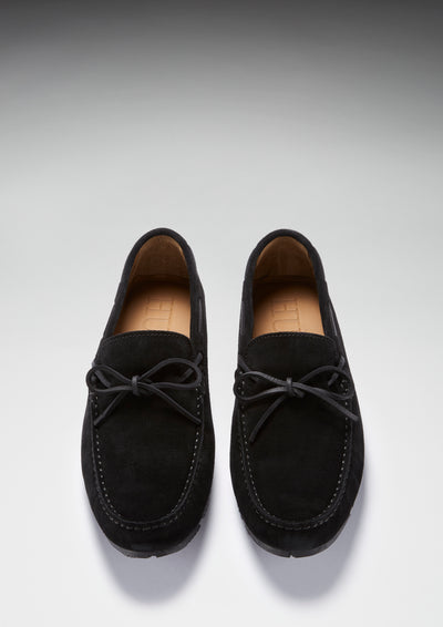 Tyre Sole Laced Driving Loafers, black suede